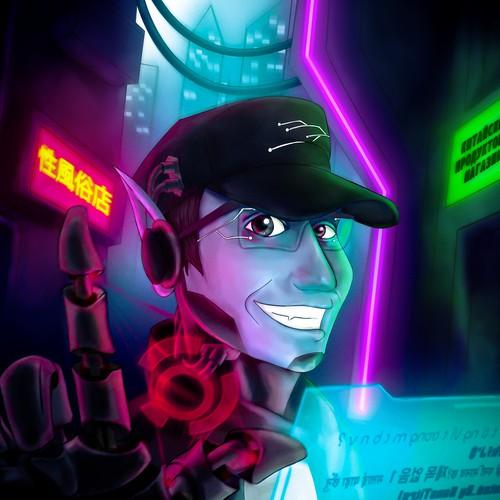 Illustration for a cyber punk fantaisy avatar.