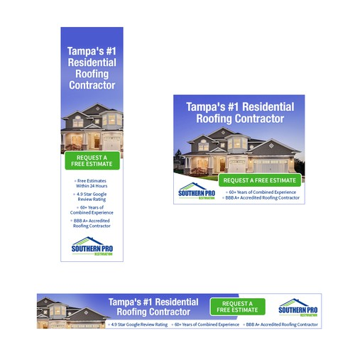Banner ad for roofing contractor