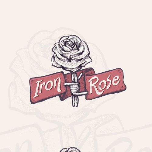 Cartoon bold rose logo
