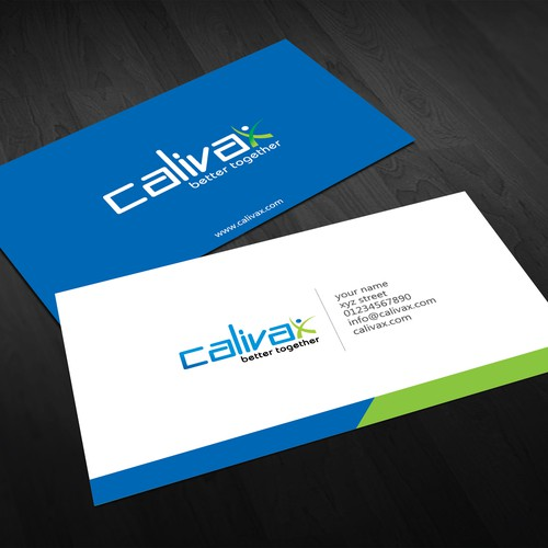 Create the next logo and business card for Calivax
