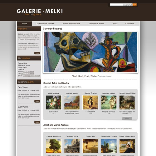 Art gallery web site templates (2 pages)