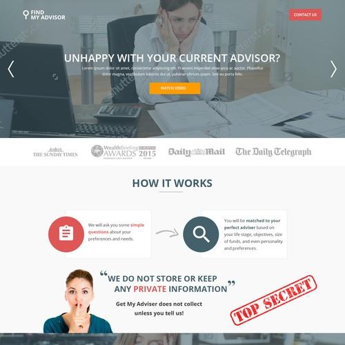 Find My Adviser Landing page design