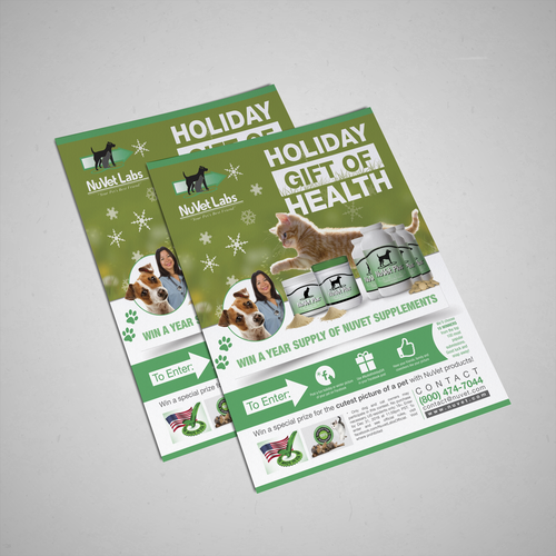Design a Holiday contest flyer for Pet Supplements Brand