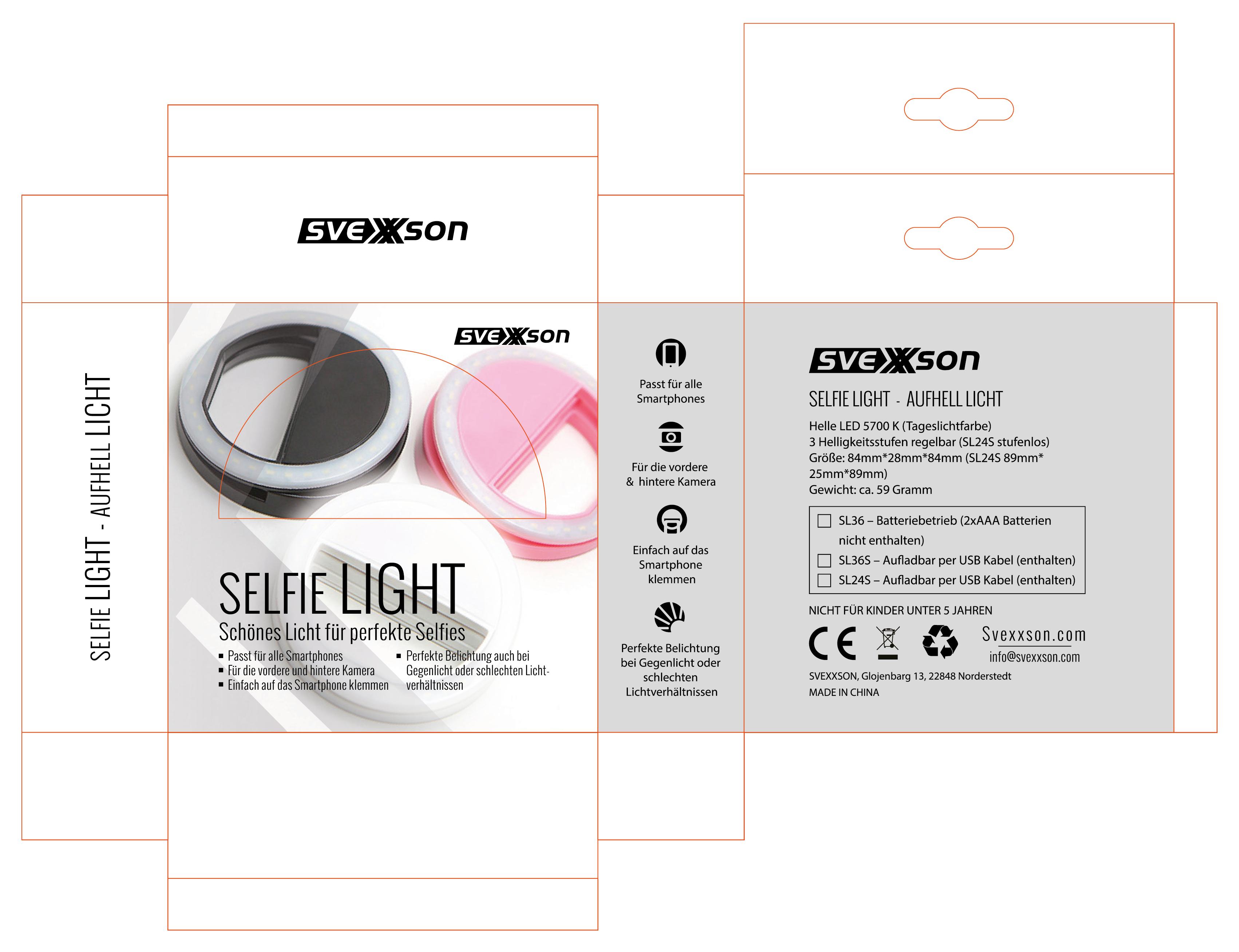Verpackungsdesign für Selfie Lights und weitere