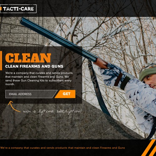 Masculine and Tough Landing Page for Tacti-Care Firearm Cleaning Kits!