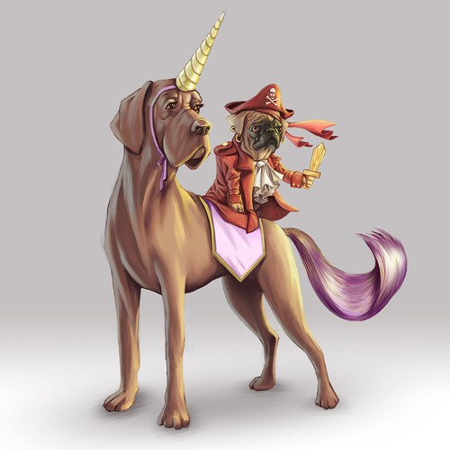 Cute pug pirate riding a unicorn Great Dane