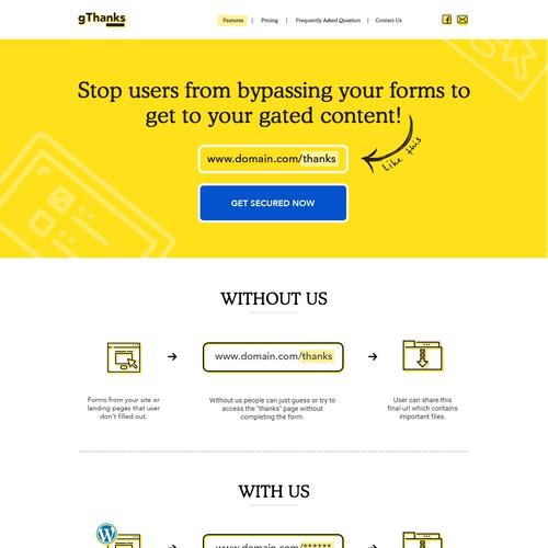 Landing Page for Wordpress Plugin