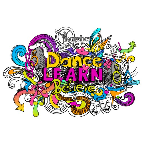 Doodle Drawing for Tthe Kercher School Of Dance