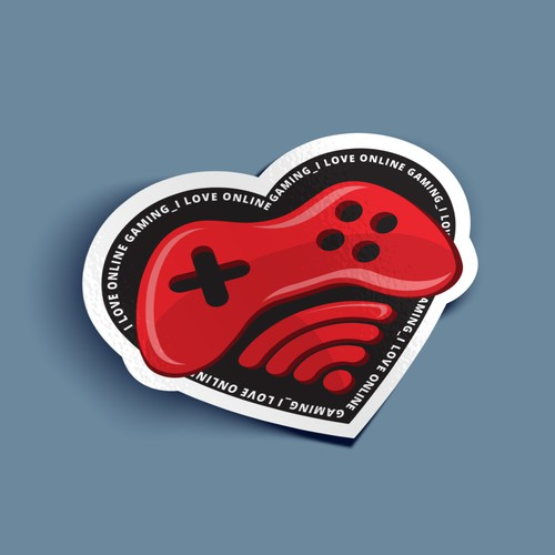"sticker design for ""I love online gaming"""