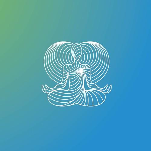The heart breath center logo concept.