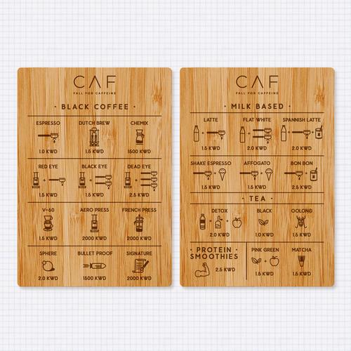 Menu design on Wood