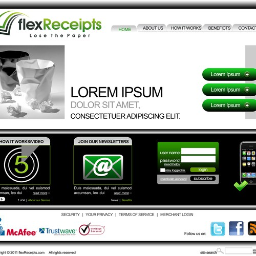 website design for flexReceipts.com