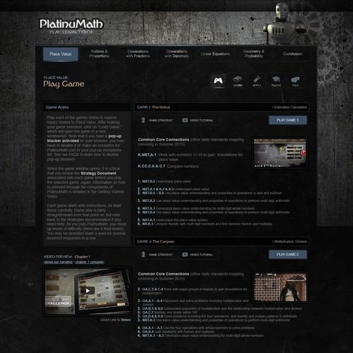 Website design for educational game promotion