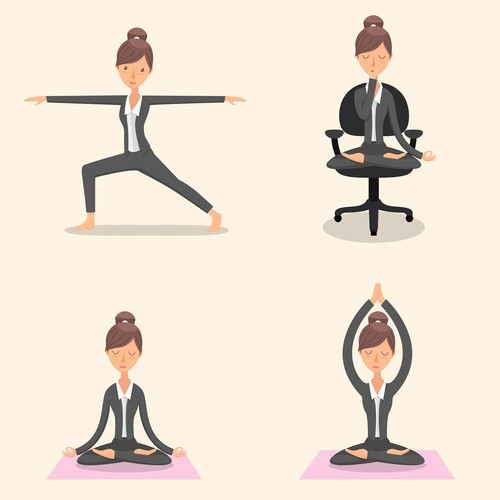 Character design for business yoga.