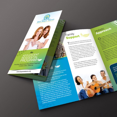 Create a capturing/professional looking brochure for a Teen Substance Abuse Treatment center