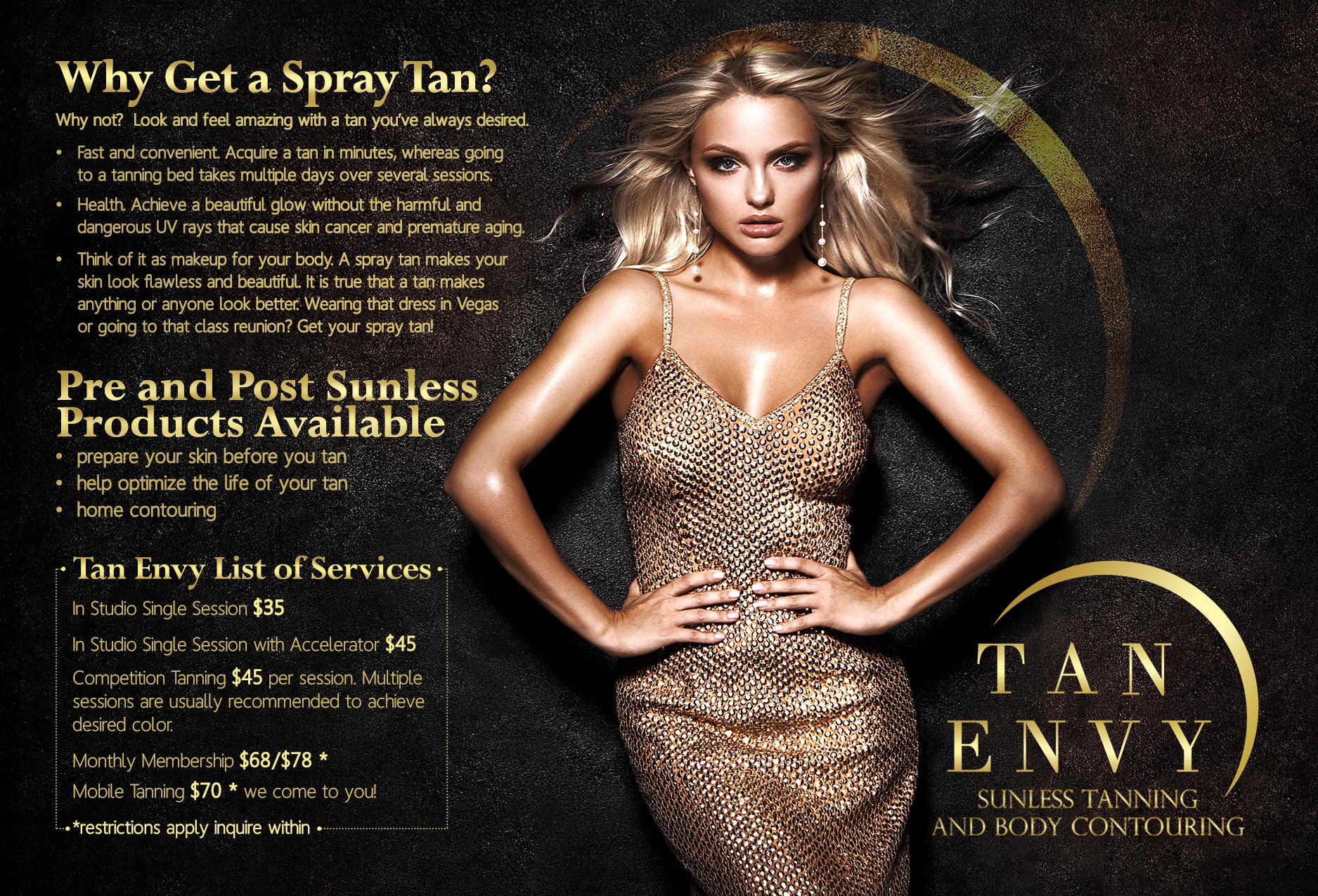 Spray tan studio seeking sexy, eye catching postcard ad.