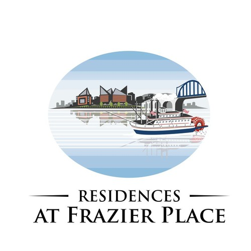 Unique and modern logo design for our waterfront/skyline view apartment community.