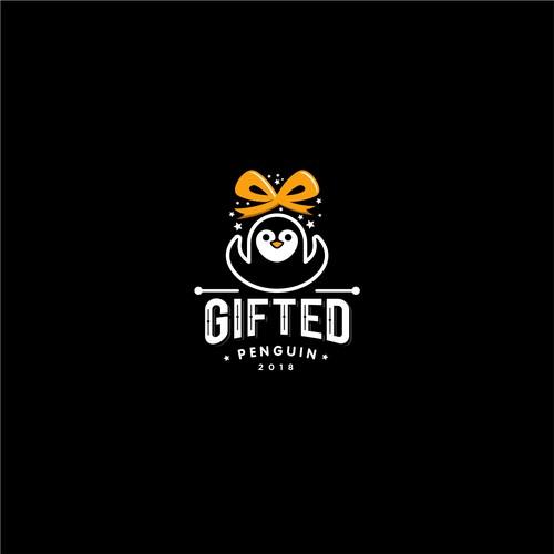 """Fun cartoon logo design for """"Giffted penguin"""""""