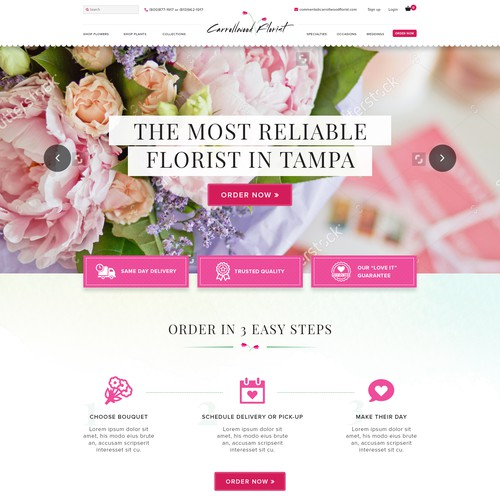 Elegant, Clean & Beautiful website design for a florist