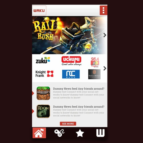 Re-Design our (already existing) simple platform for games and brands.