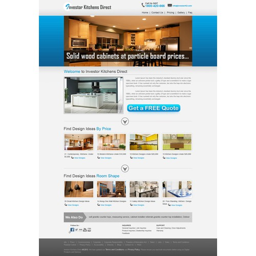 New website design wanted for Investor Kitchens Direct