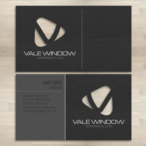 Business card design for window supplier company