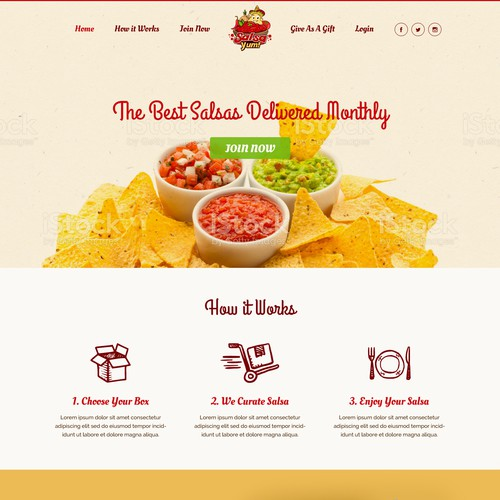 Landing page design for new subscription box company Salsa Yum!
