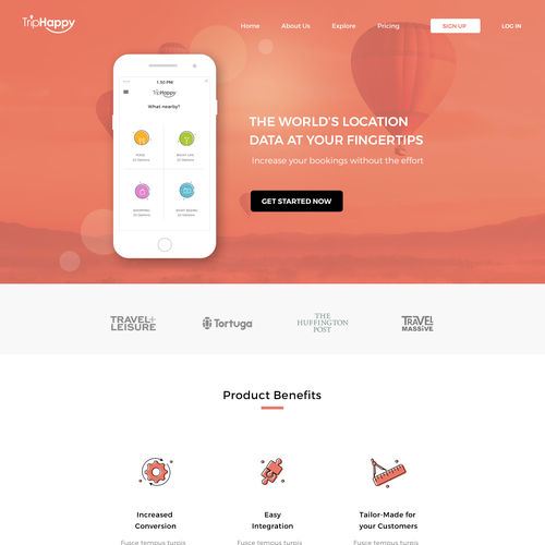 Landing page for a big data travel company
