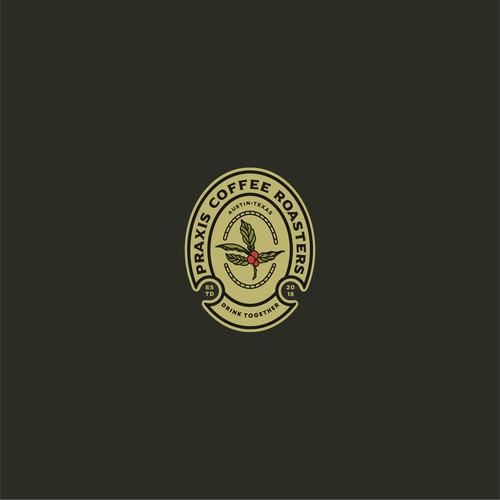 praxis coffe roastery logo concept