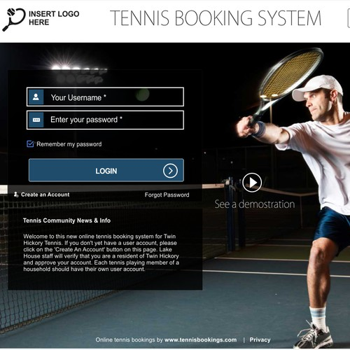 Facelift for tennis booking system . Let's start with just 2 pages...