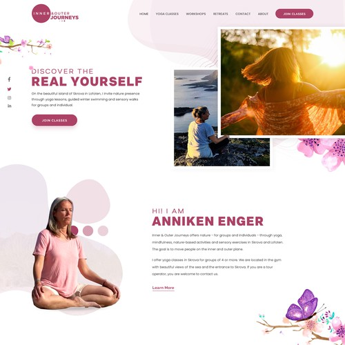 web page for a yoga teacher in arctic area