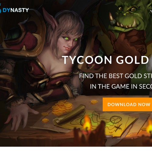 Landing page and illustrations for Tycoon, World of Warcraft Gold Addon