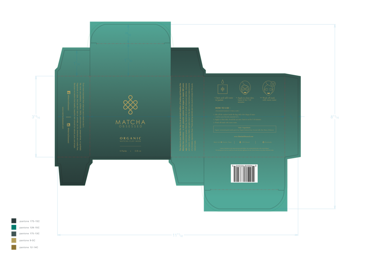 Matcha Obsessed Box and Packet Design Package