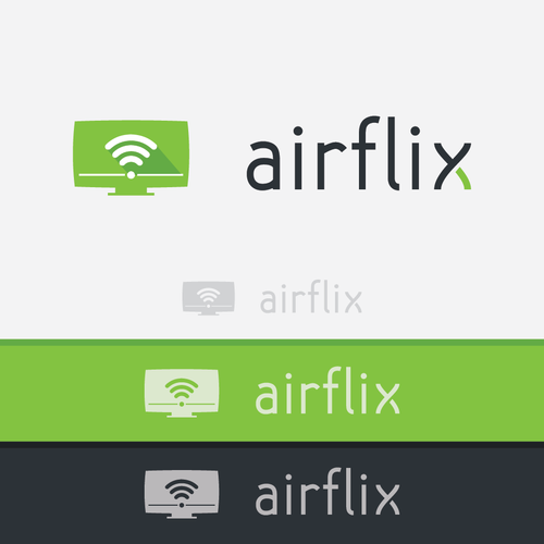 Create a logo for Airflix a video streaming application (TV, device, desktop)