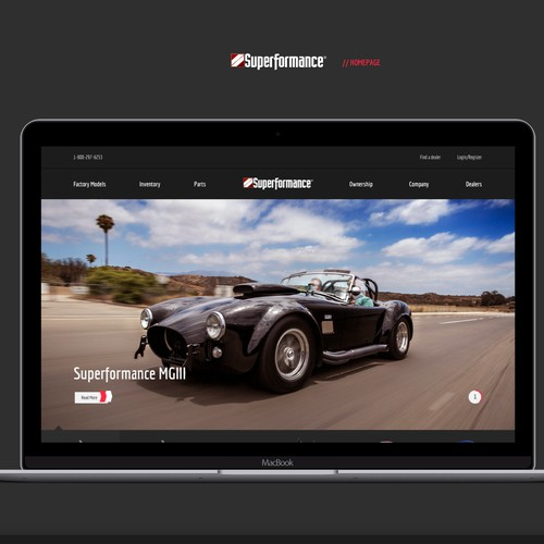 Homepage concept for High Performance Race Cars