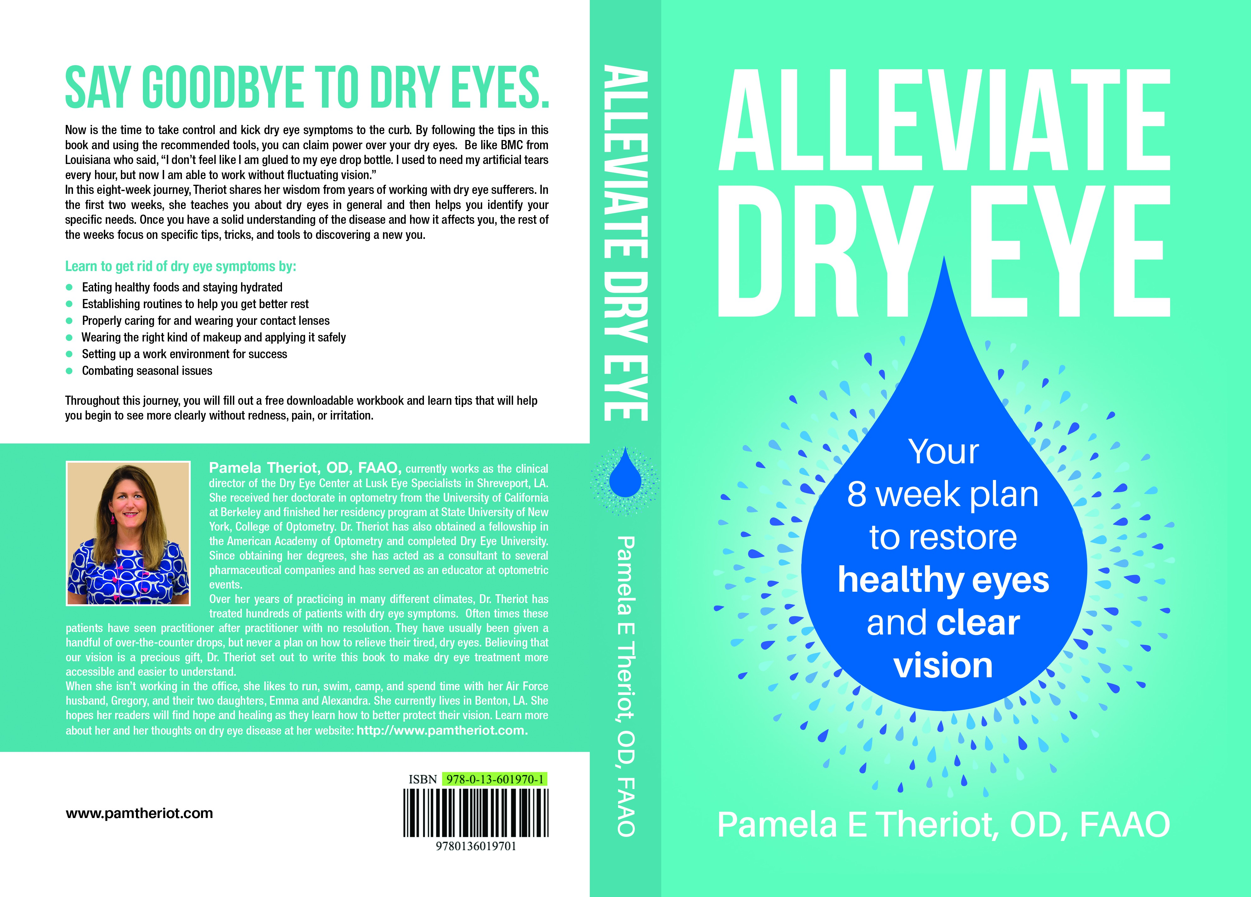 Design a clean and clear book cover for a guide to alleviate dryness in dry eye sufferers