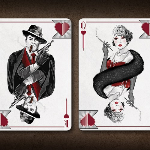 Elegant Mobster Playing Card Illustrations