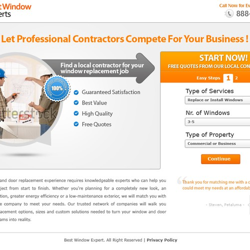 Create Landing Page To Find Window Contractors