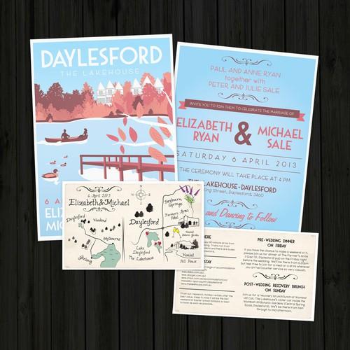 创建复古旅行海报风格婚礼邀请