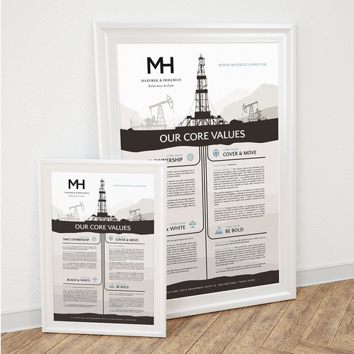 MH Attorney & Law Core Values Poster