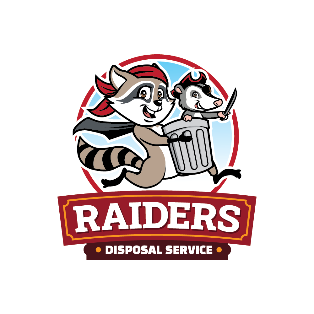 Logo for rubbish disposal business that includes a Trash Can, Raccoon, opossum
