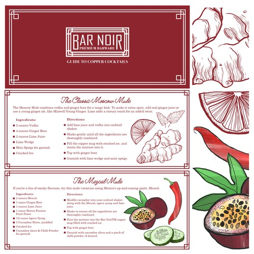 Cocktail Leaflet Design & Illustrations