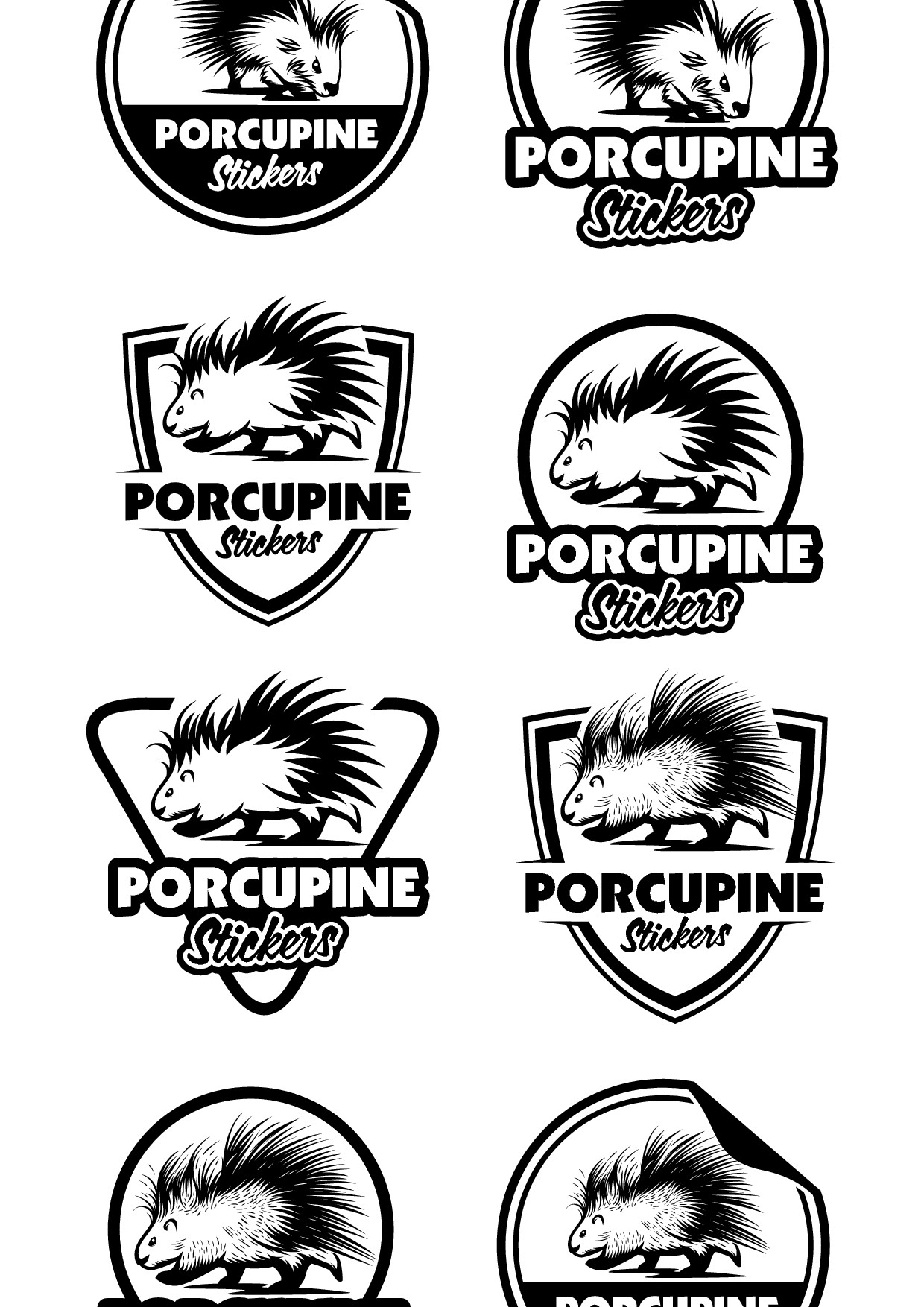 Porcupine Stickers - Professional,  logo  needed for sticker/decal shop.