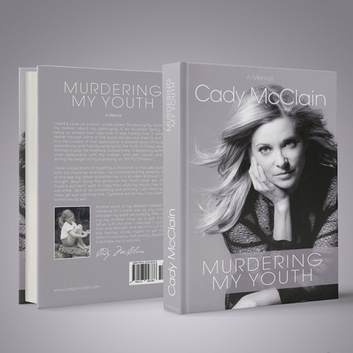 "Create a winning book design for a memoir by actress Cady McClain titled ""Murdering My Youth."""