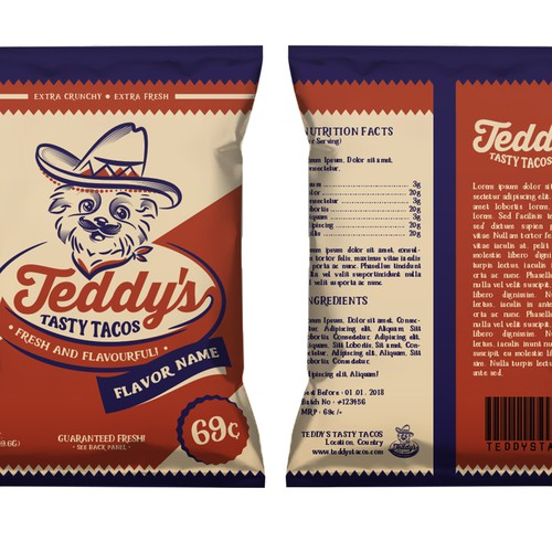 Logo and Packaging Design for Teddy's Tasty Tacos