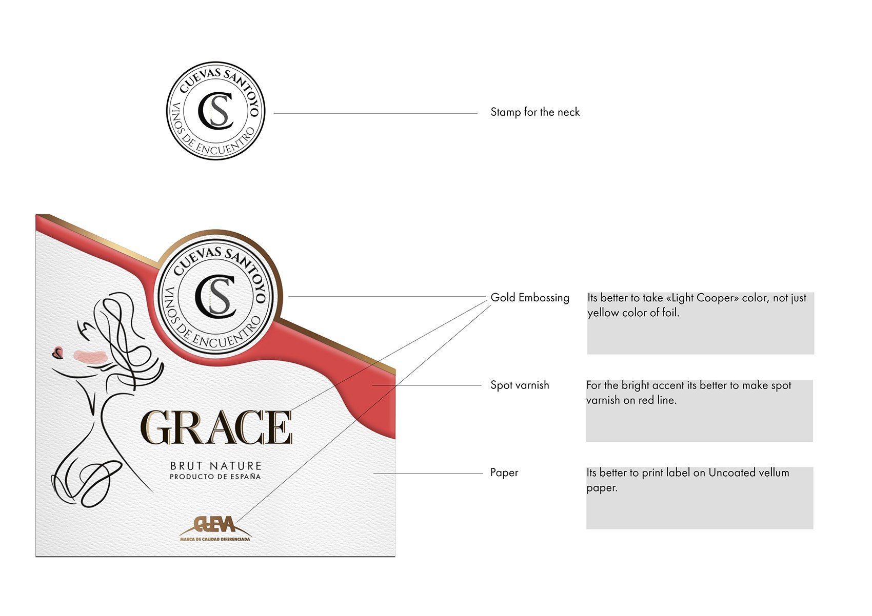 Design of a premium  sparkling wine label.