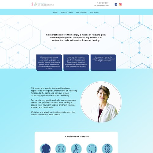 Refreshing modern landing page for family chiropractor