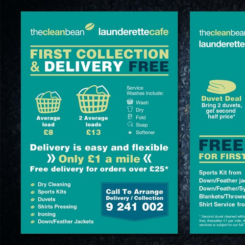 Flyer concept for The Clean Bean Launderette Cafe