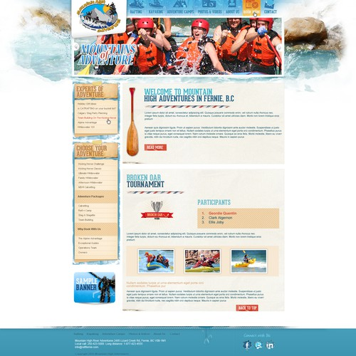 Be Creative & Design a Wordpress Theme for Mountain High River Adventures