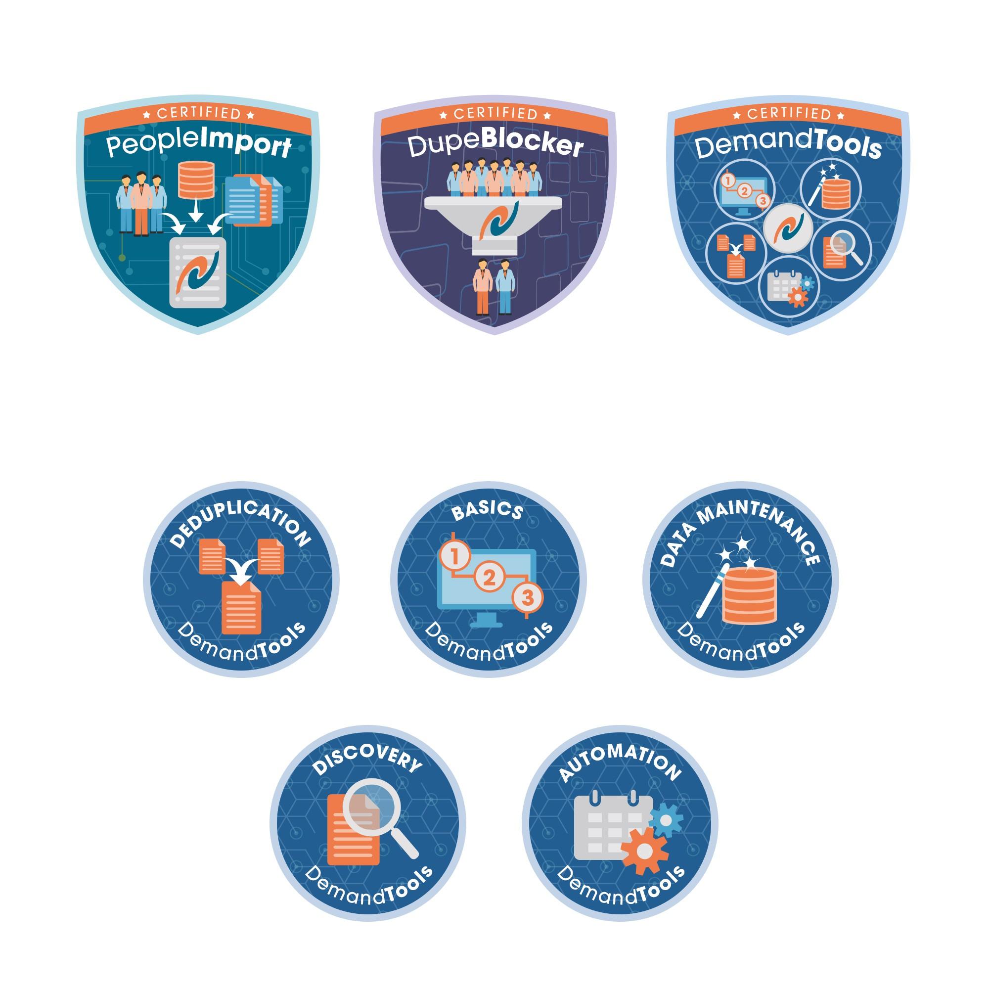"""DemandTools """"Badge"""" and five sub-badges"""